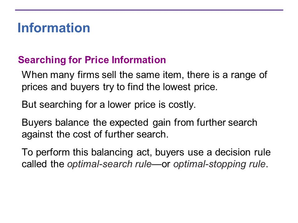 Information Searching for Price Information