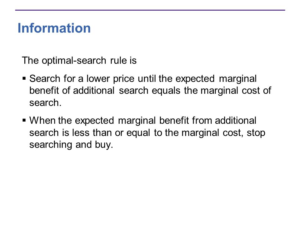 Information The optimal-search rule is