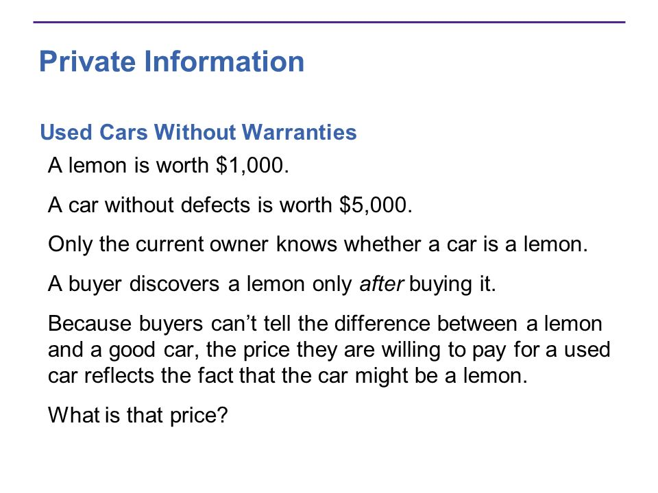 Private Information Used Cars Without Warranties