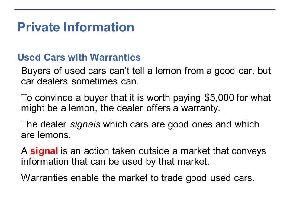 Private Information Used Cars with Warranties