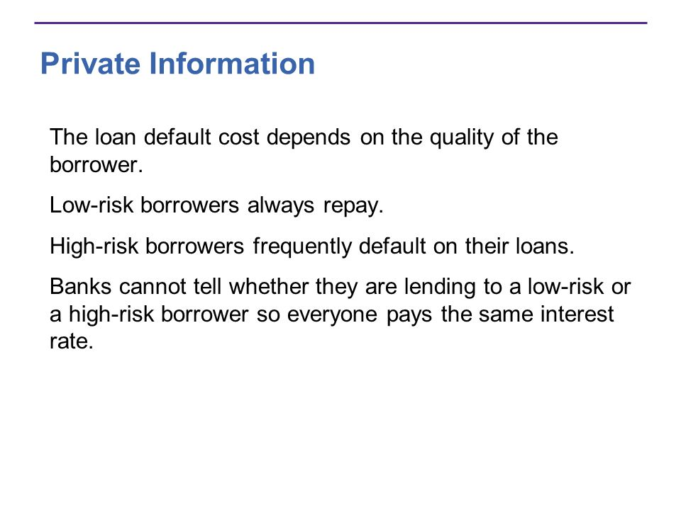 Private Information The loan default cost depends on the quality of the borrower. Low-risk borrowers always repay.