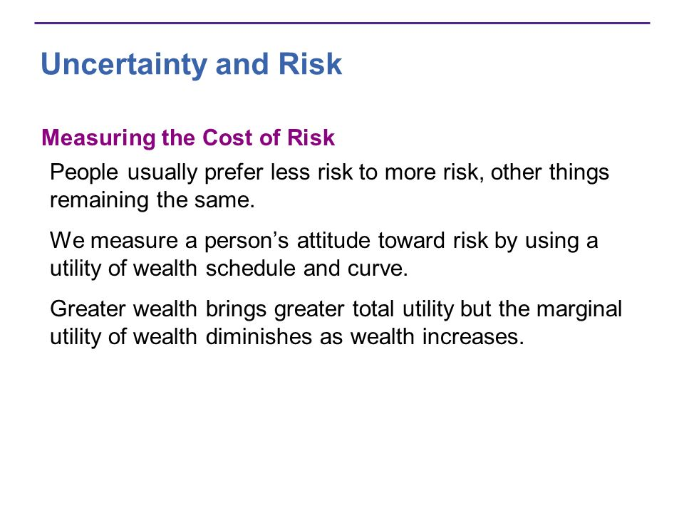 Uncertainty and Risk Measuring the Cost of Risk