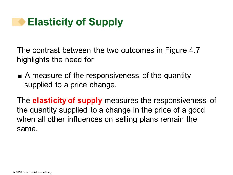 Elasticity of Supply The contrast between the two outcomes in Figure 4.7 highlights the need for.