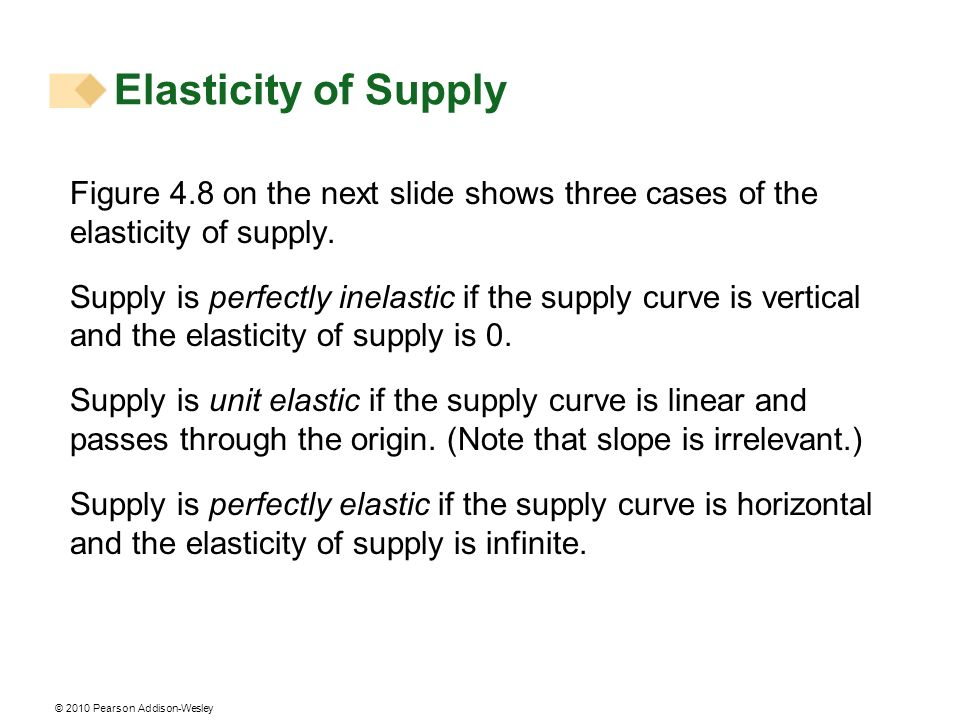 Elasticity of Supply Figure 4.8 on the next slide shows three cases of the elasticity of supply.