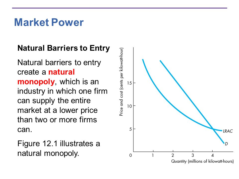 Market Power Natural Barriers to Entry