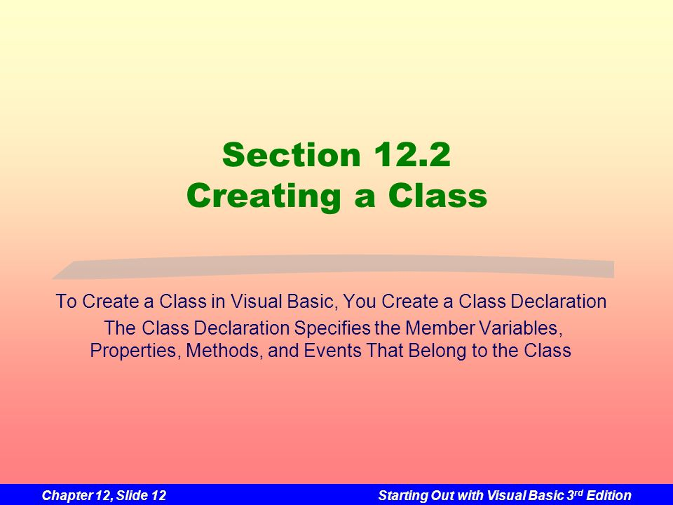 Section 12.2 Creating a Class
