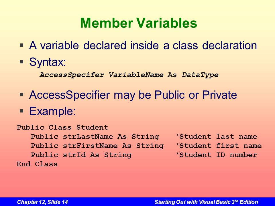 Member Variables A variable declared inside a class declaration