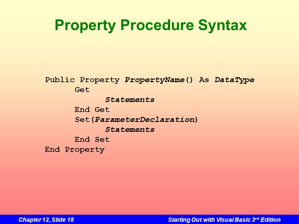 Property Procedure Syntax