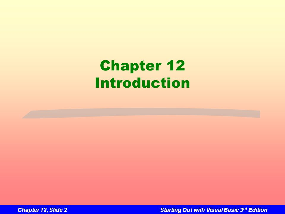 Chapter 12 Introduction