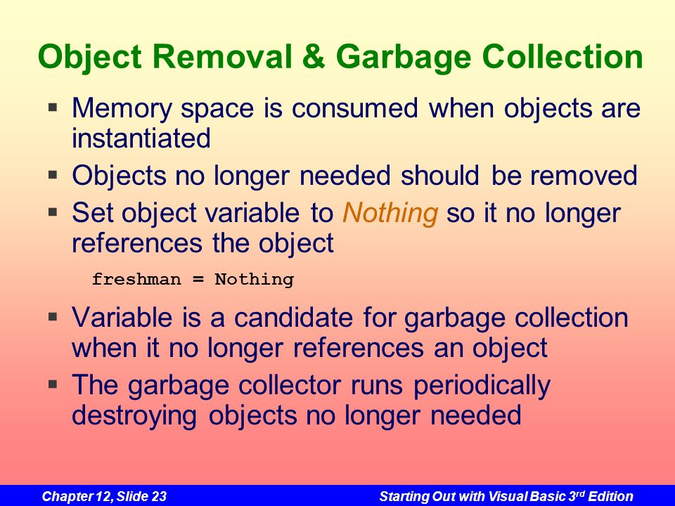 Object Removal & Garbage Collection