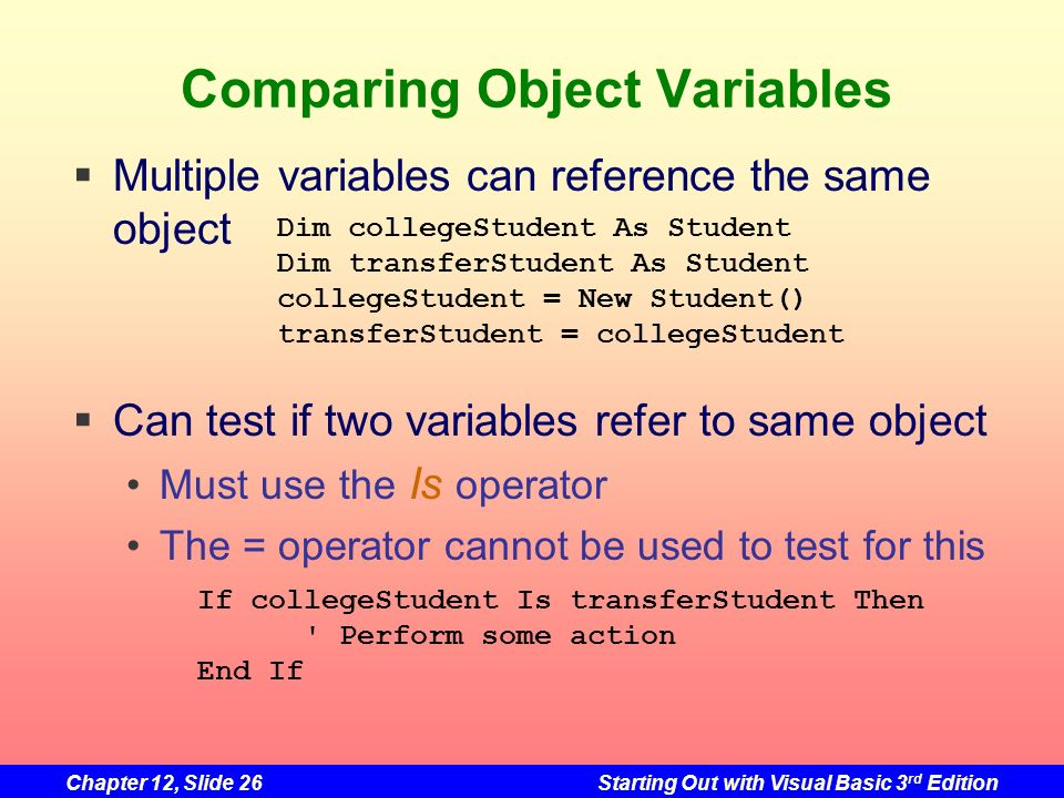 Comparing Object Variables