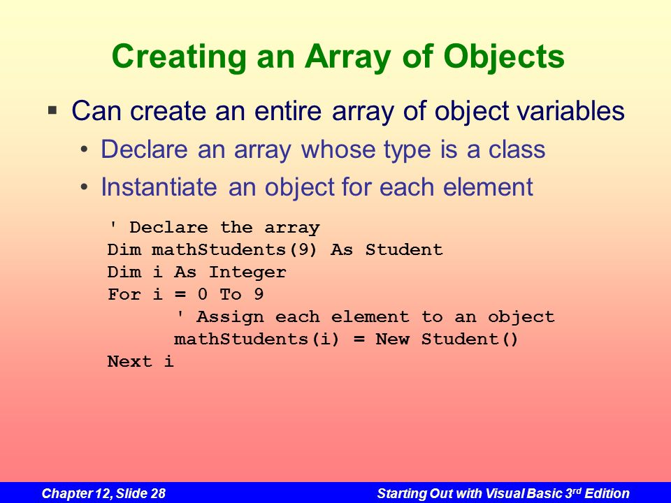 Creating an Array of Objects