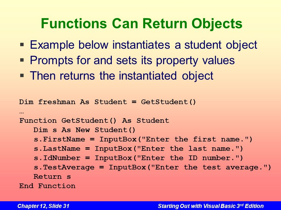 Functions Can Return Objects