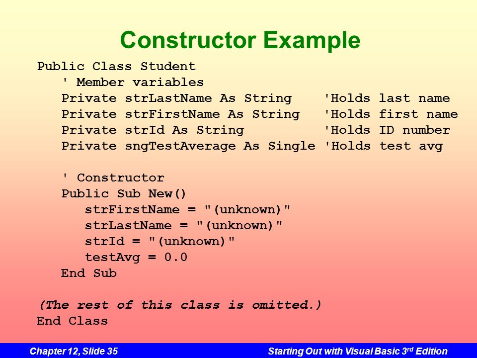 Constructor Example Public Class Student Member variables