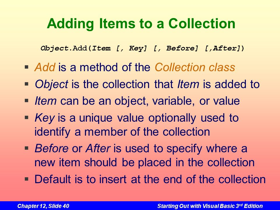 Adding Items to a Collection