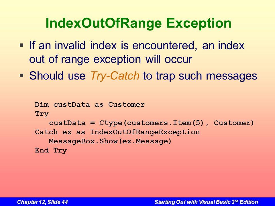 IndexOutOfRange Exception