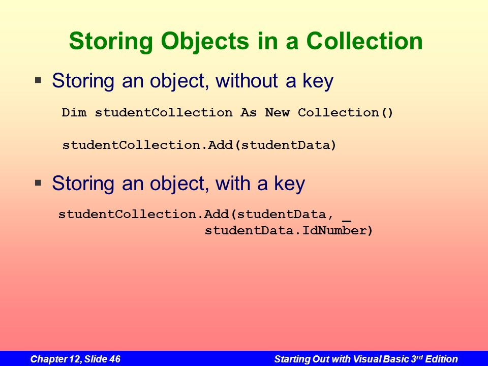 Storing Objects in a Collection