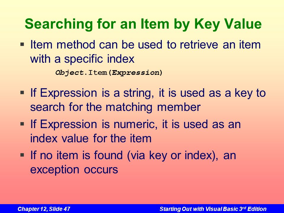 Searching for an Item by Key Value
