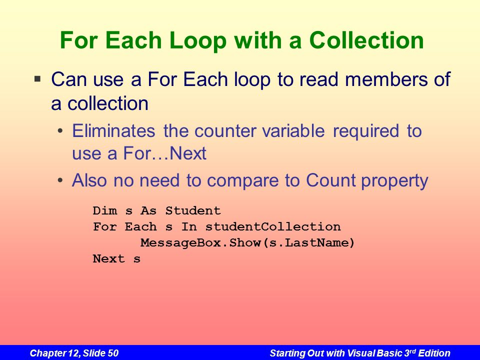 For Each Loop with a Collection