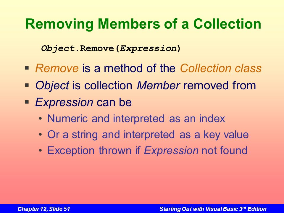 Removing Members of a Collection