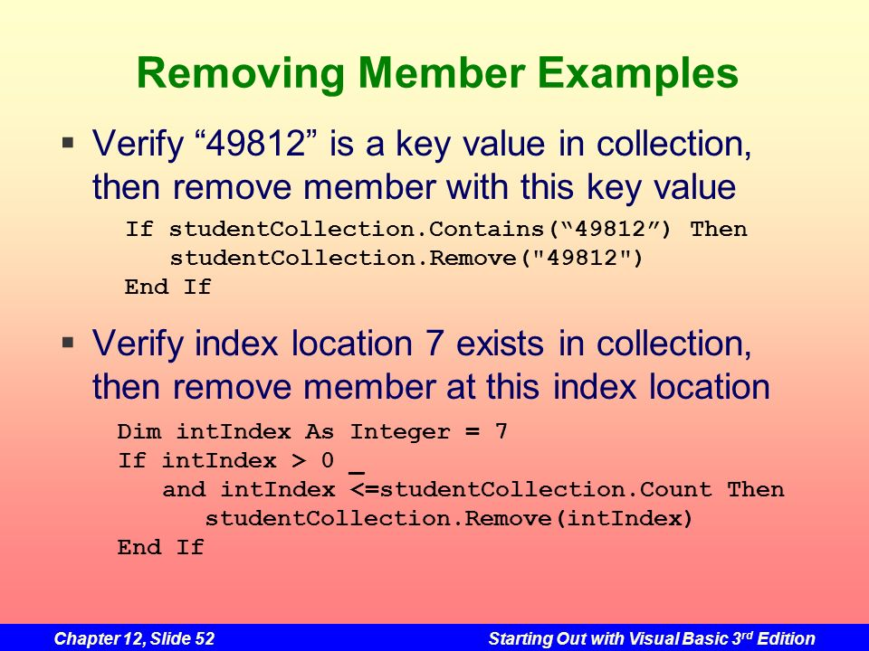 Removing Member Examples