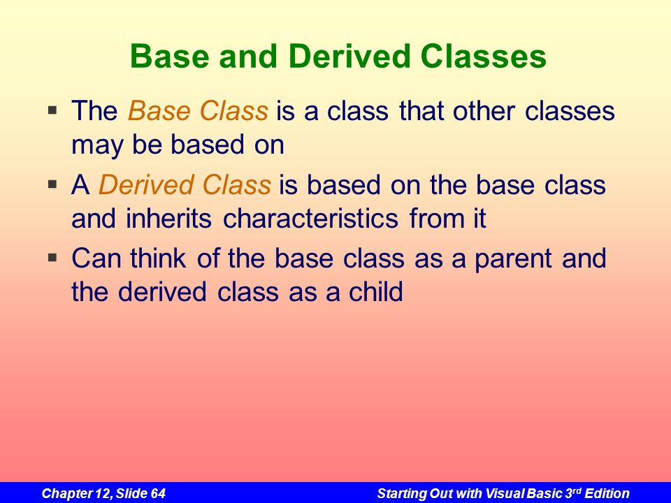 Base and Derived Classes
