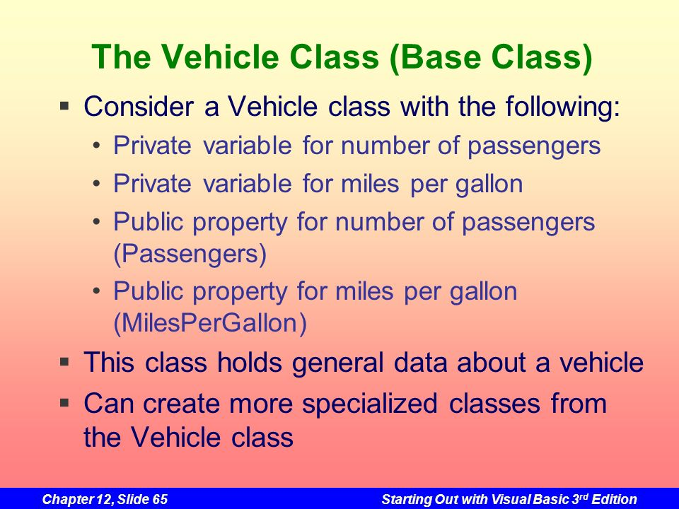 The Vehicle Class (Base Class)