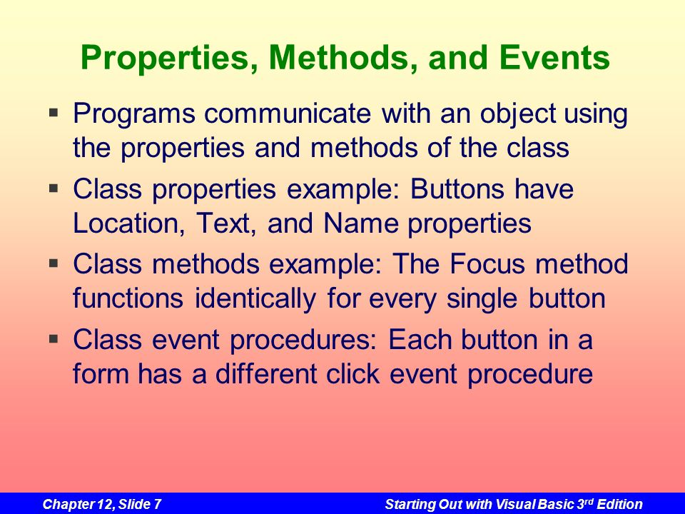 Properties, Methods, and Events