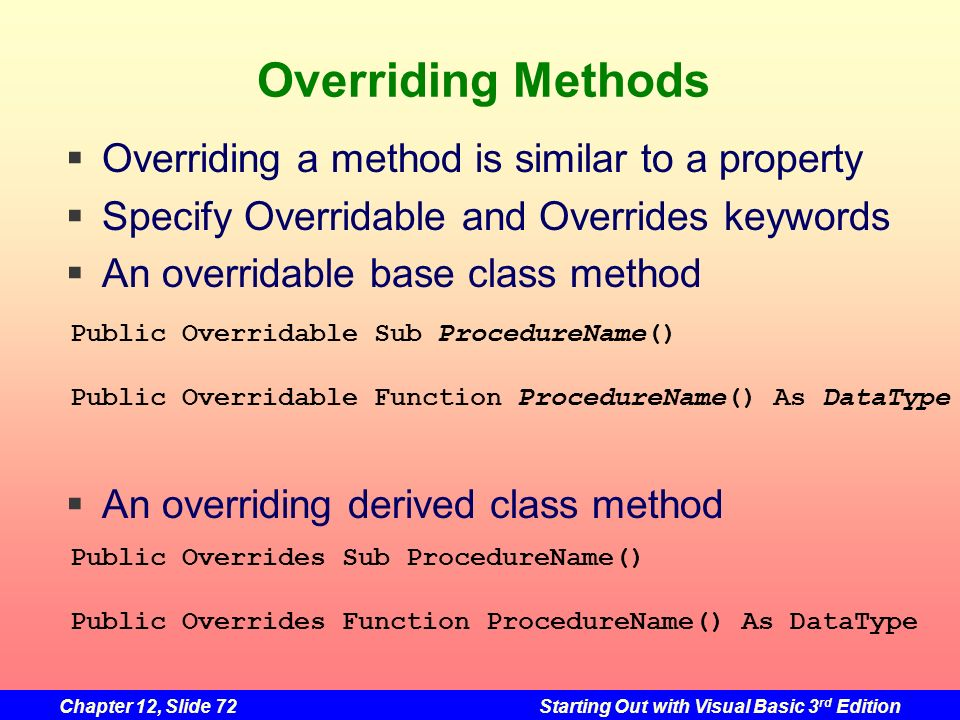 Overriding Methods Overriding a method is similar to a property