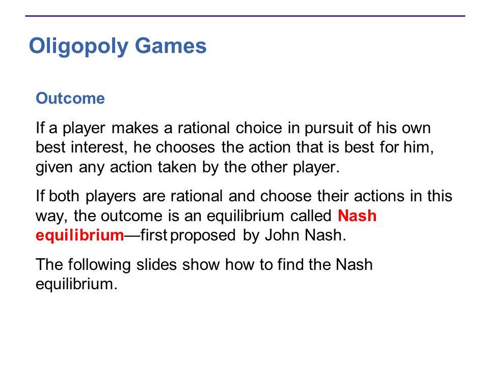 Oligopoly Games Outcome