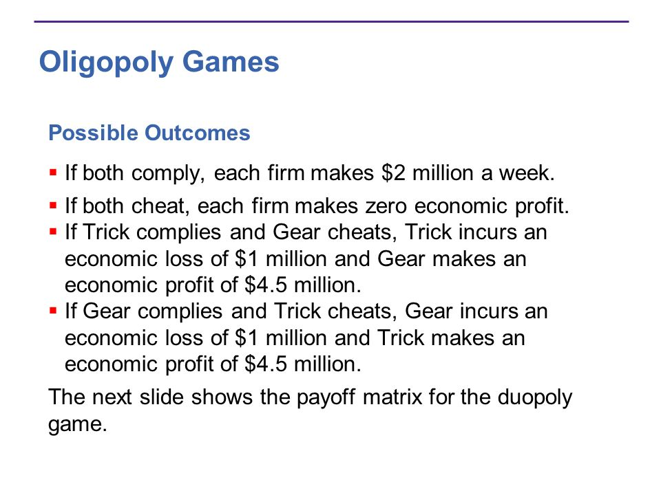 Oligopoly Games Possible Outcomes