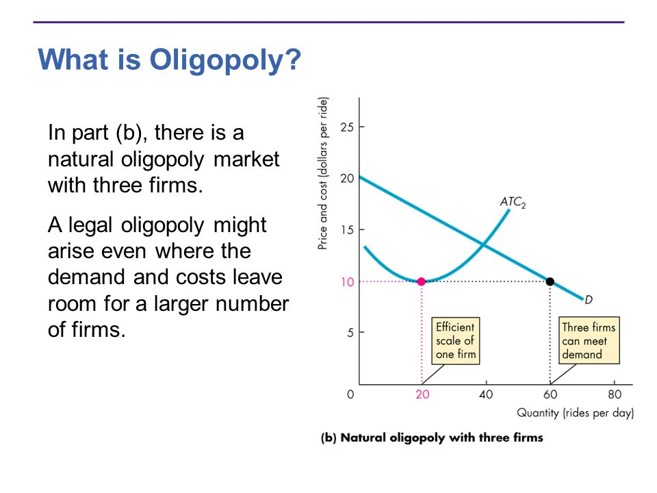 What is Oligopoly In part (b), there is a natural oligopoly market with three firms.