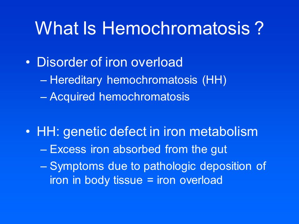 hemochromatosis iron deficiency in blood content biology essay Human physiology/appendix 1: answers to review system working with the respiratory system to regulate blood ph would a vitamin a deficiency b).