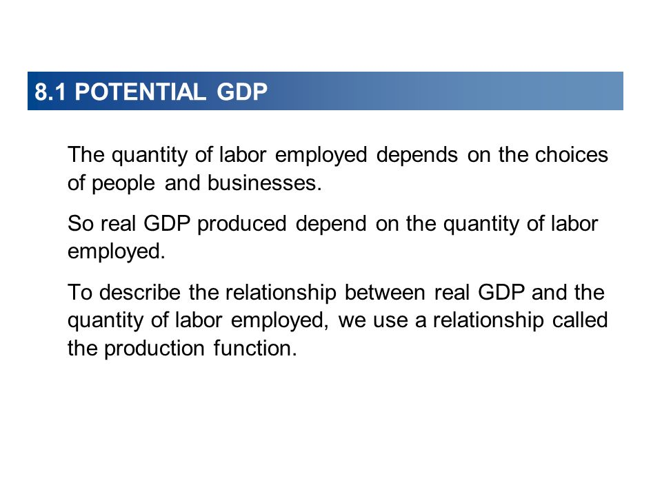 8.1 POTENTIAL GDP The quantity of labor employed depends on the choices of people and businesses.