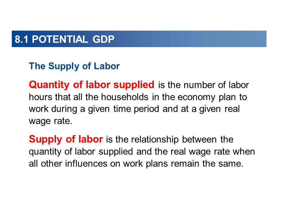 8.1 POTENTIAL GDP The Supply of Labor.