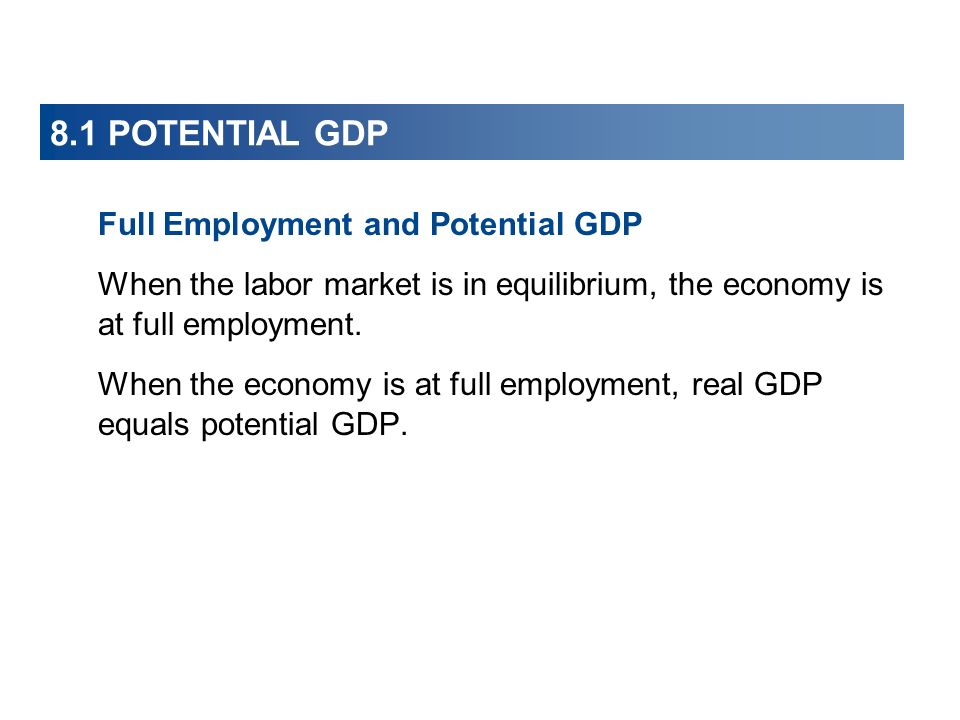 8.1 POTENTIAL GDP Full Employment and Potential GDP