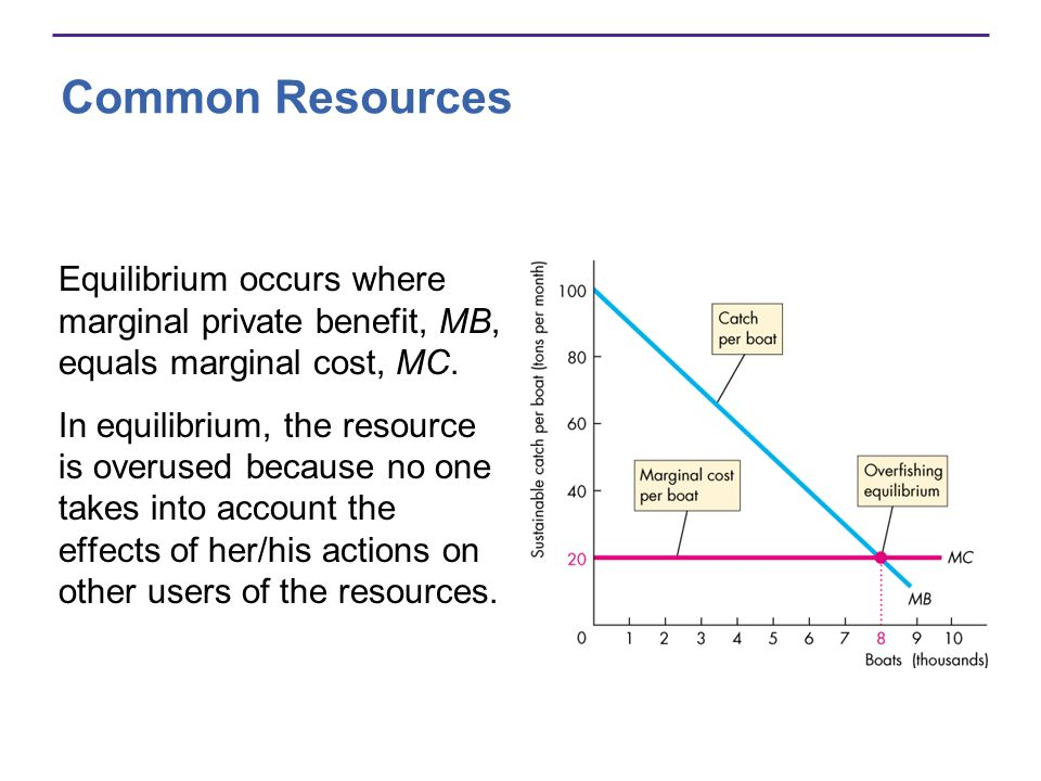Common Resources Equilibrium occurs where marginal private benefit, MB, equals marginal cost, MC.