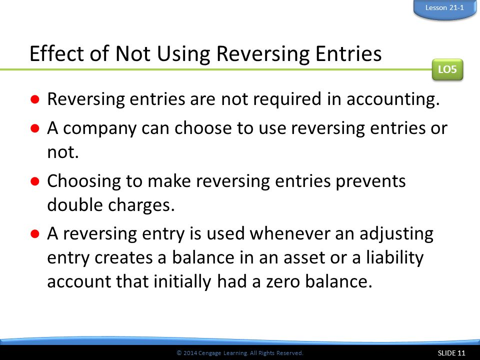 Effect of Not Using Reversing Entries
