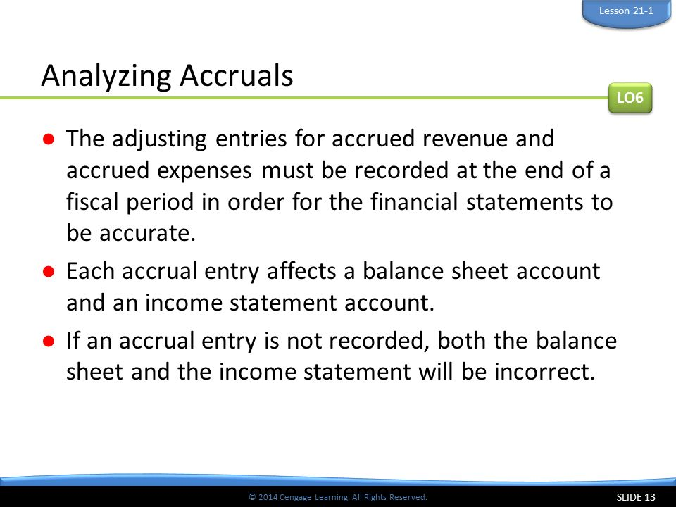 Lesson 21-1 Analyzing Accruals. LO6.