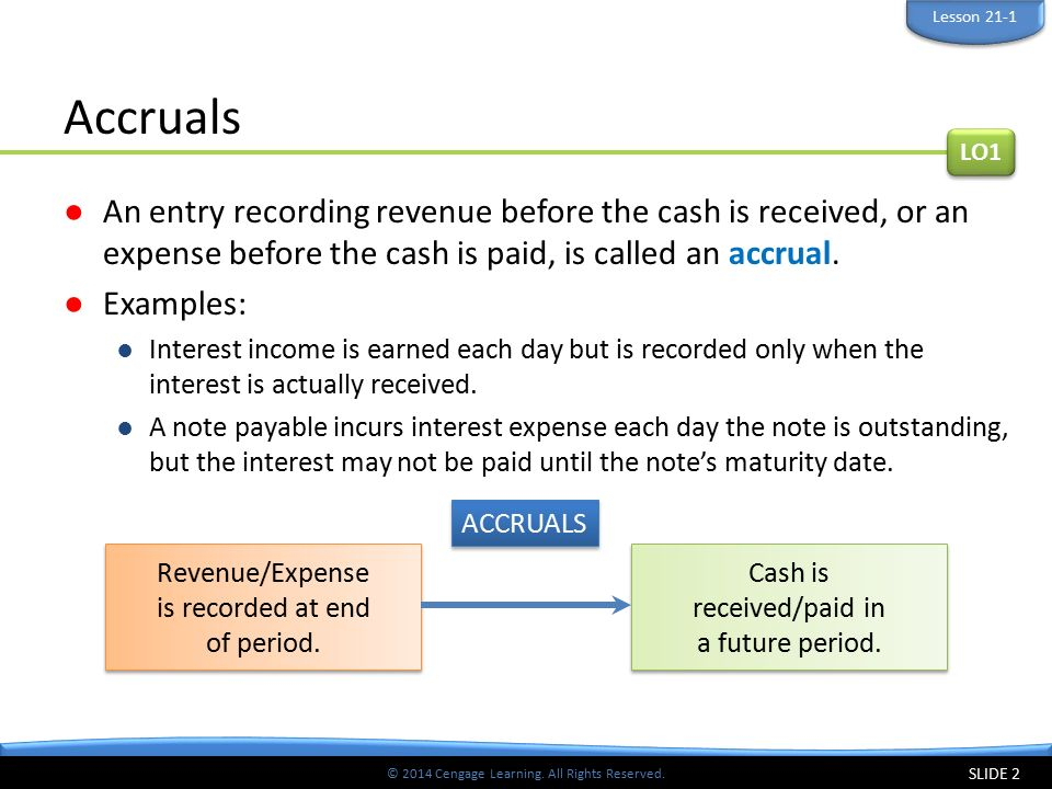 Lesson 21-1 Accruals. LO1. An entry recording revenue before the cash is received, or an expense before the cash is paid, is called an accrual.