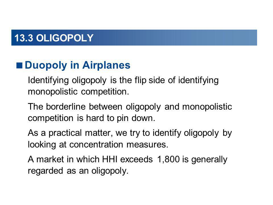 Duopoly in Airplanes 13.3 OLIGOPOLY