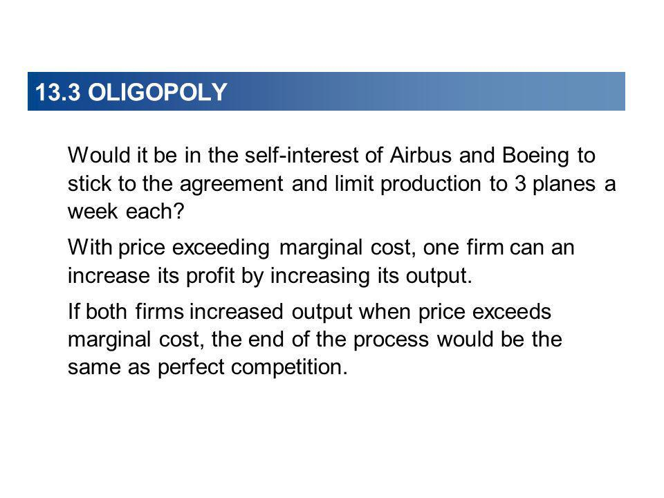 13.3 OLIGOPOLY Would it be in the self-interest of Airbus and Boeing to stick to the agreement and limit production to 3 planes a week each