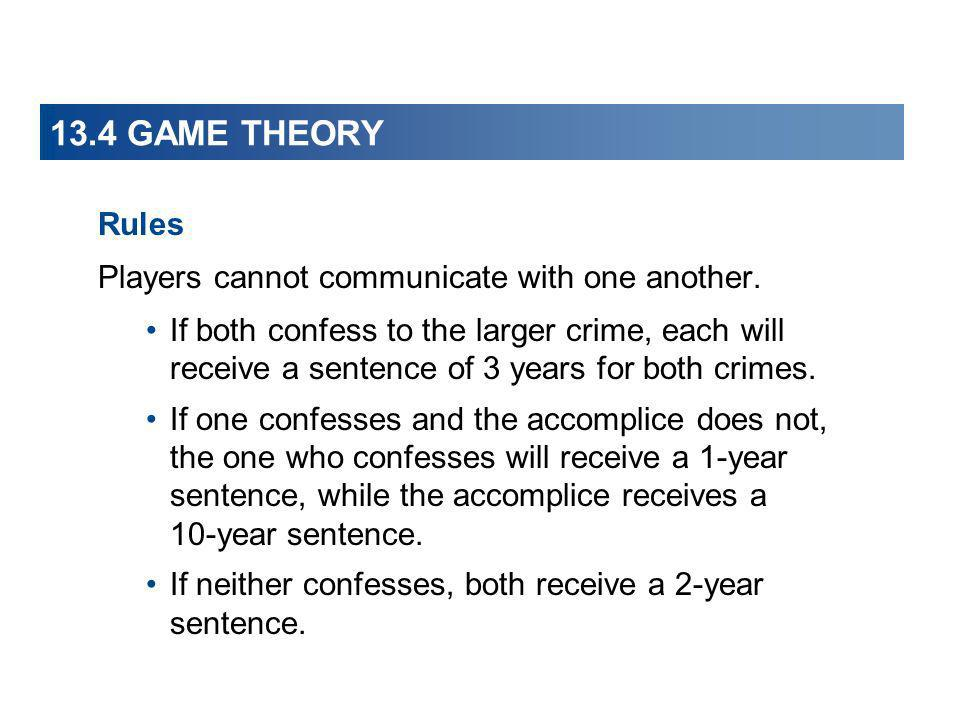 13.4 GAME THEORY Rules Players cannot communicate with one another.