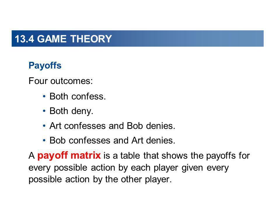 13.4 GAME THEORY Payoffs Four outcomes: Both confess. Both deny.