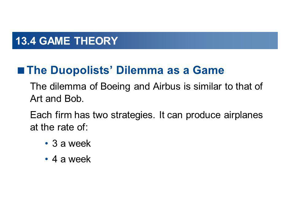 The Duopolists' Dilemma as a Game