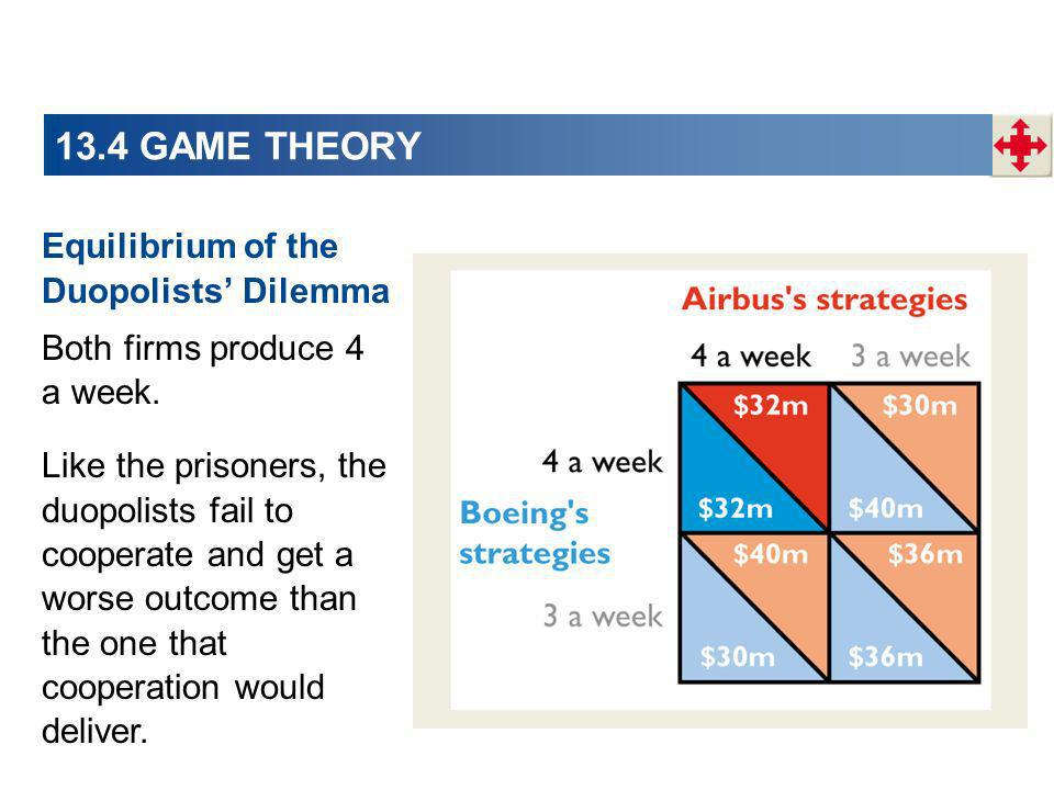 13.4 GAME THEORY Equilibrium of the Duopolists' Dilemma