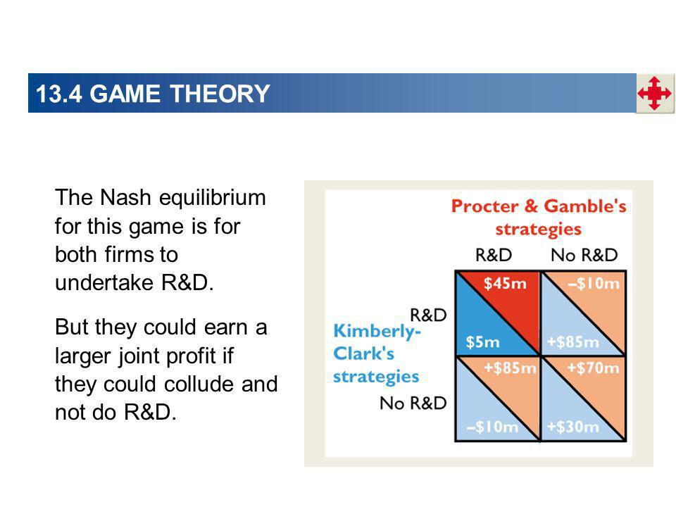 13.4 GAME THEORY The Nash equilibrium for this game is for both firms to undertake R&D.
