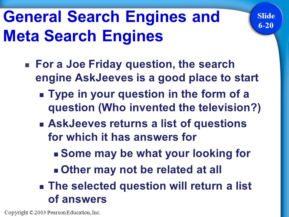General Search Engines and Meta Search Engines