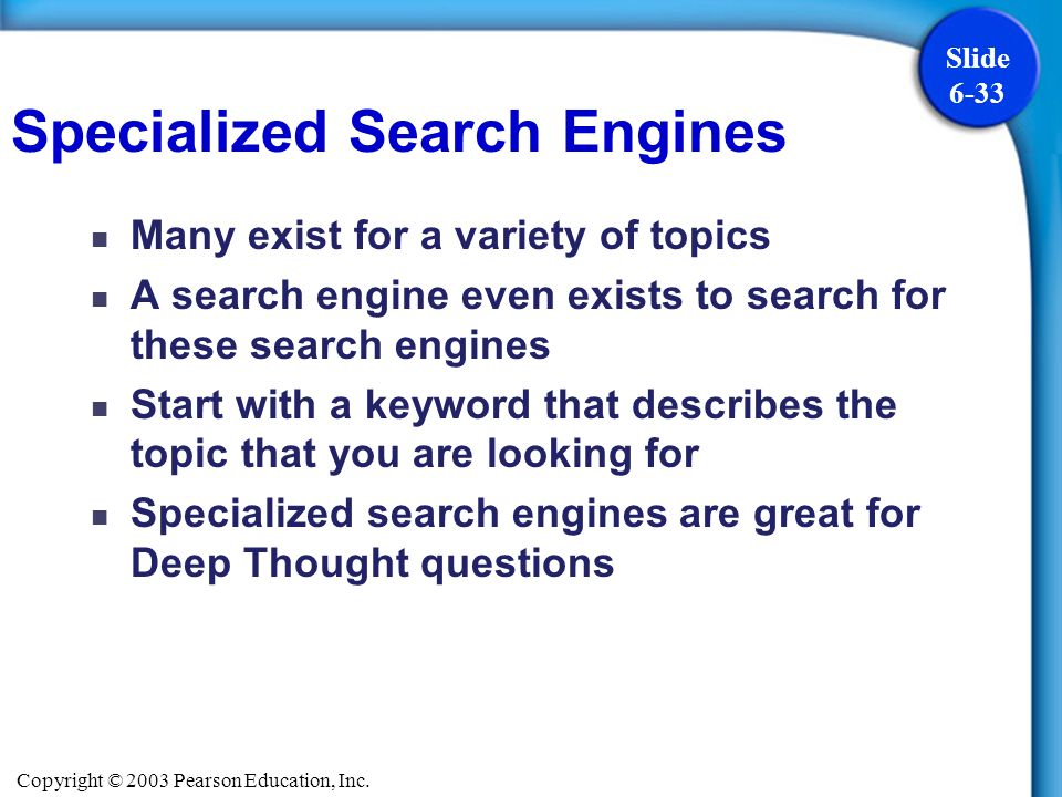 Specialized Search Engines