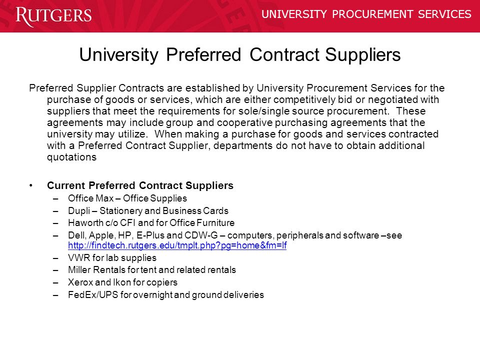 Purchasing policy training ppt video online download 12 university preferred contract suppliers colourmoves Gallery